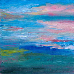 """Sunset painting by Eileen Morey, 12"""" x 12"""" oil on canvasboard"""