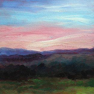 Oil sketch of a NH sunrise, by Eileen Eilis Morey - 24 Dec 2010