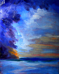 High contrast painting of sunset - temporary copy