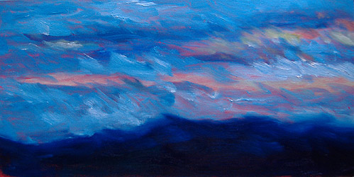 Oil Sketch – Blustery Sunset
