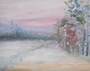 Second painting - 19 Jan 2011 - snowy landscape during power outage