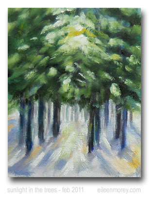 sunlight in the trees - winter landscape - oil painting - eileen morey
