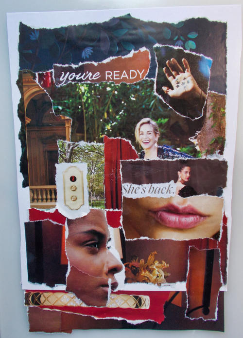 She's Back – Torn Paper Collage