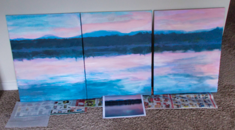 Lake Winnisquam triptych in progress