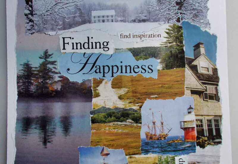 Finding happiness in New England - torn paper collage by eibhlin