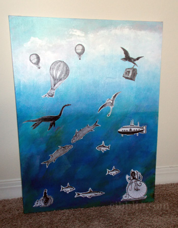 Mixed media painting - absurd from sky to sea