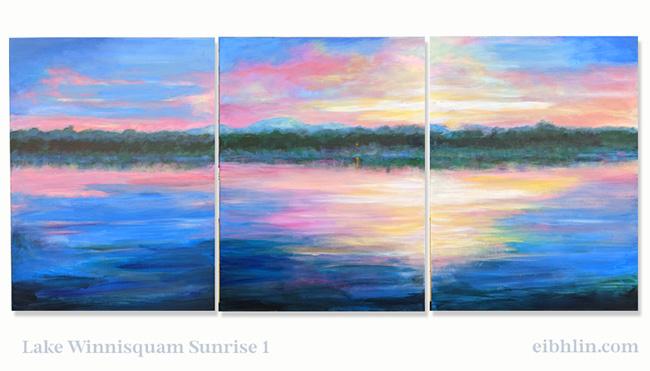 Winnisquam Sunrise triptych - finished Oct 2021 by eibhlin