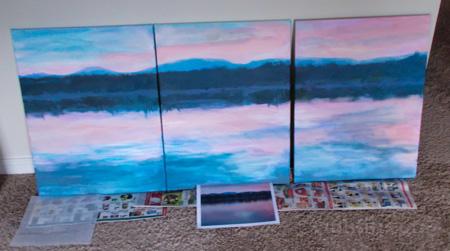 Acrylic sketch of Winnisquam Sunrise triptych